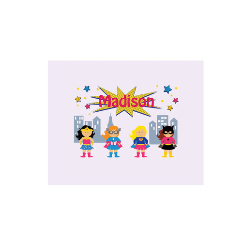 Personalized Wall Canvas with Super Girls design