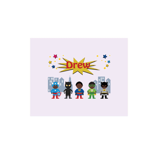 Personalized Wall Canvas with Superhero African American design