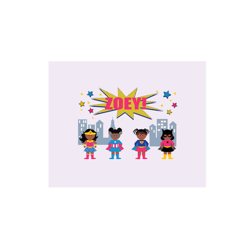 Personalized Wall Canvas with Super Girls African American design