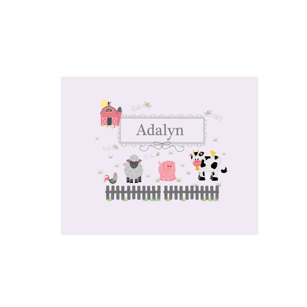 Personalized Wall Canvas with Barnyard Friends Pastel design
