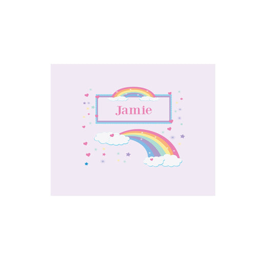 Personalized Wall Canvas with Rainbow Pastel design