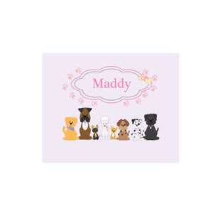 Personalized Wall Canvas with Pink Dog design
