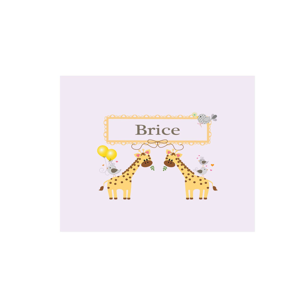 Personalized Wall Canvas with Giraffe design