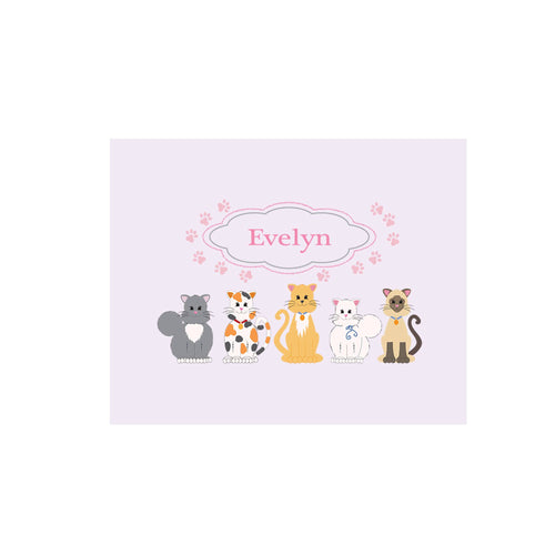 Personalized Wall Canvas with Pink Cats design
