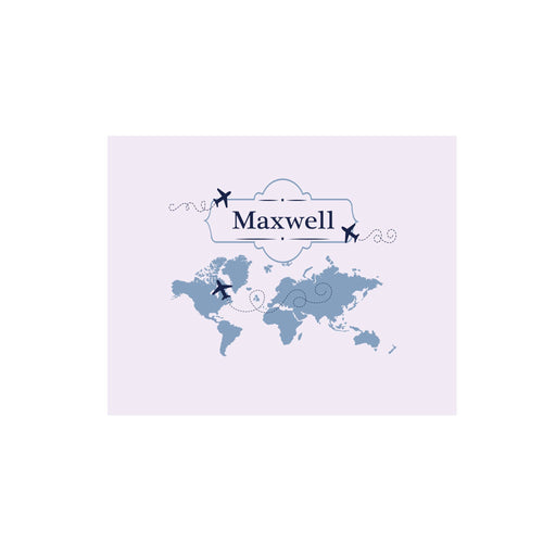 Personalized Wall Canvas with World Map Blue design