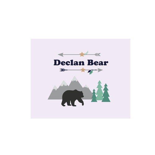 Personalized Wall Canvas with Mountain Bear design