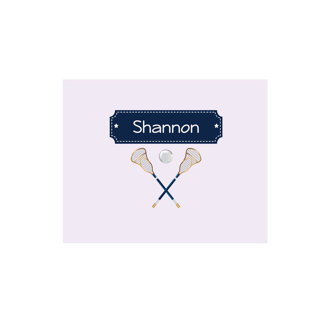 Personalized Wall Canvas with Lacrosse Sticks design
