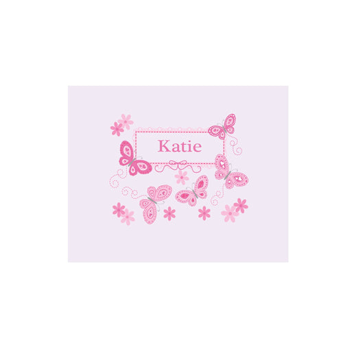 Personalized Wall Canvas with Butterflies Pink design