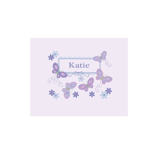 Personalized Wall Canvas with Butterflies Lavender design