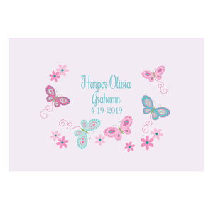 Custom Wall Canvas - Aqua Pink Butterflies