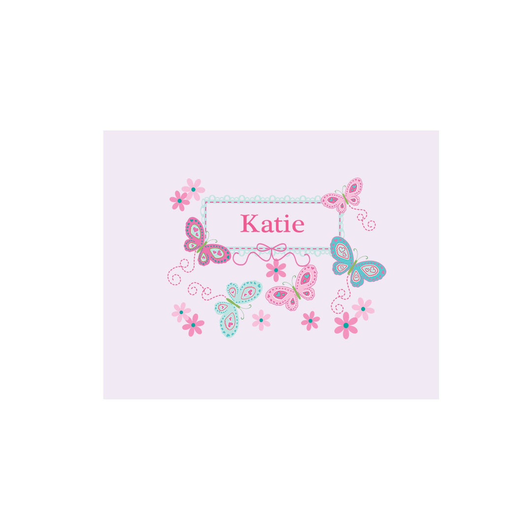 Personalized Wall Canvas with Butterflies Aqua Pink design