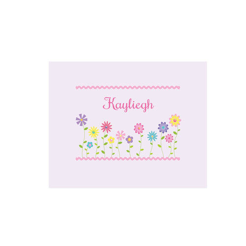 Personalized Wall Canvas with Stemmed Flowers design