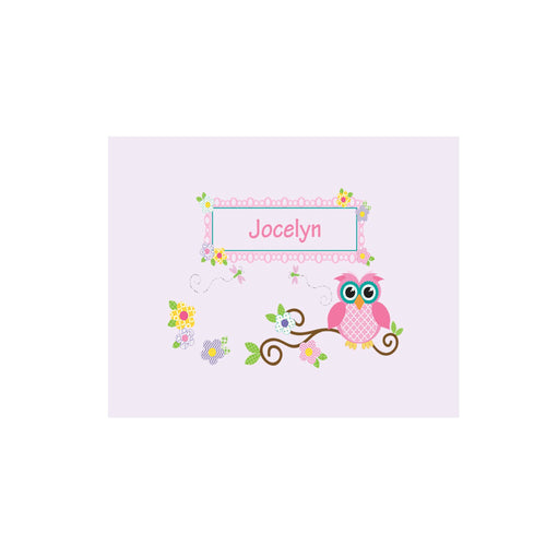 Personalized Wall Canvas with Pink Owl design