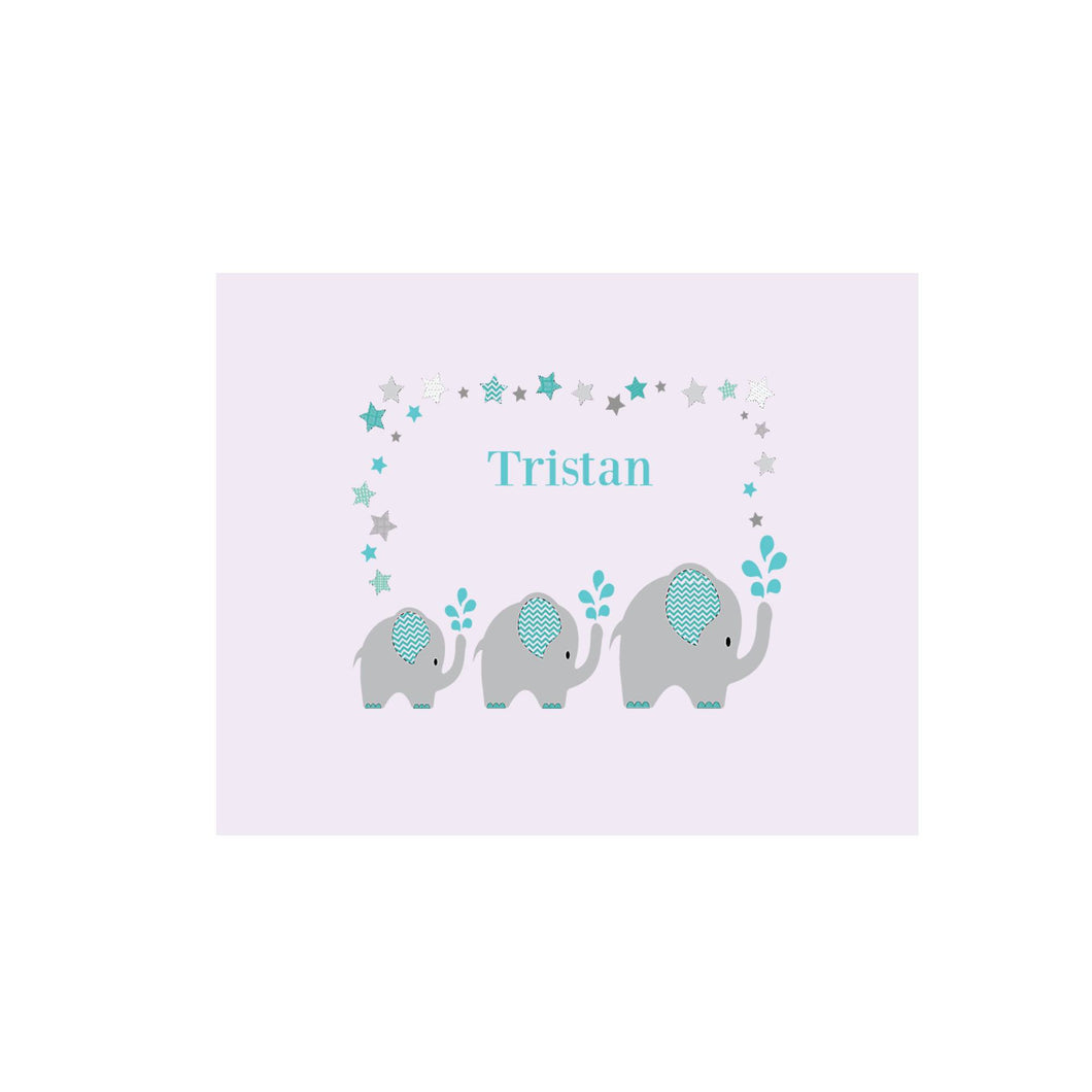 Personalized Wall Canvas with Grey and Teal Elephant design
