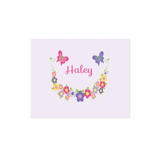 Personalized Wall Canvas with Bright Butterflies Garland design