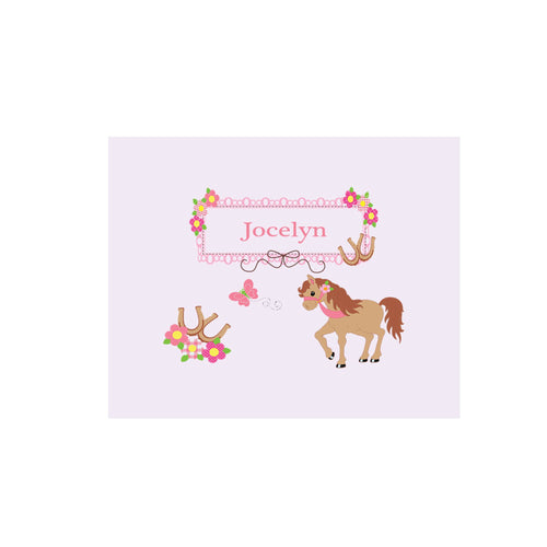 Personalized Wall Canvas with Ponies Prancing design
