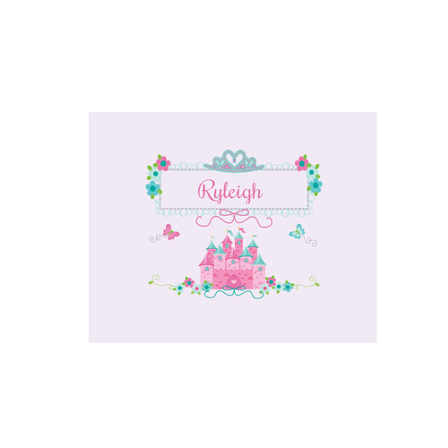 Personalized Wall Canvas with Pink Teal Princess Castle design