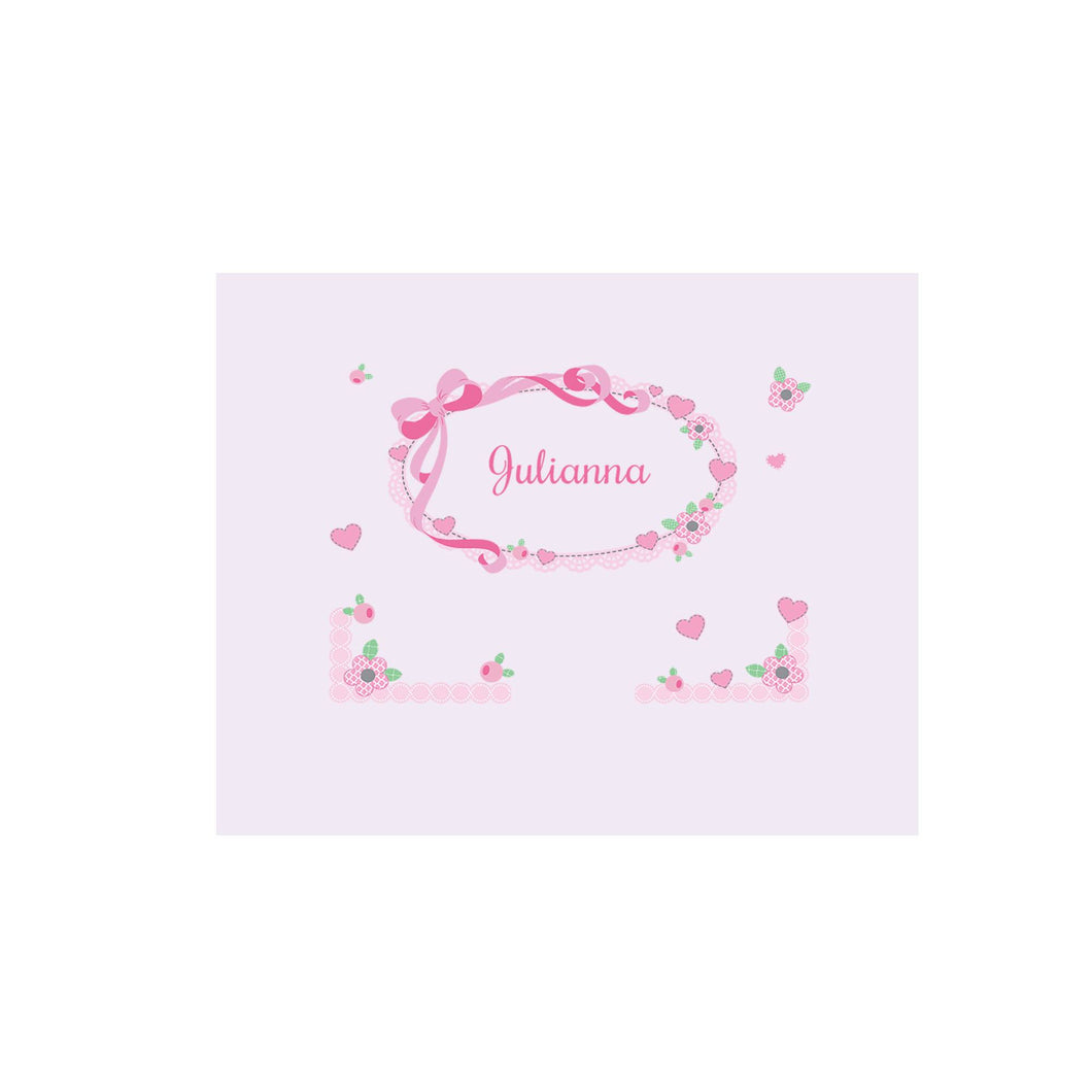 Personalized Wall Canvas with Pink Bow design