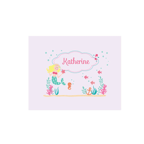 Personalized Wall Canvas with Blonde Mermaid Princess design