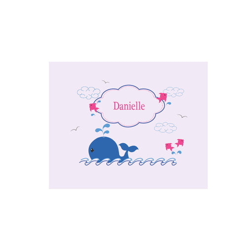 Personalized Wall Canvas with Pink Whale design