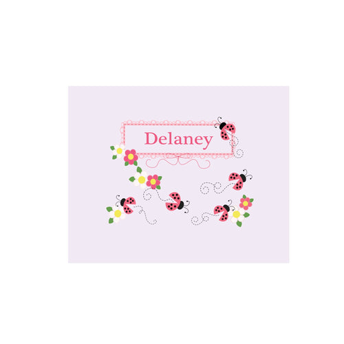 Personalized Wall Canvas with Pink Ladybugs design