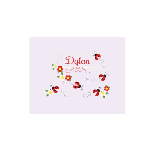 Personalized Wall Canvas with Red Ladybugs design