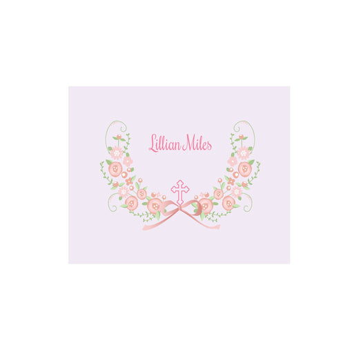 Personalized Wall Canvas with Hc Blush Floral Garland design