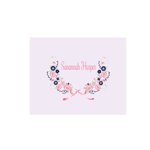 Personalized Wall Canvas with Navy Pink Floral Garland design