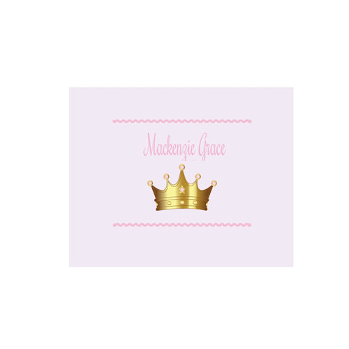 Personalized Wall Canvas with Pink Princess Crown design