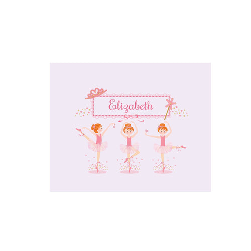 Personalized Wall Canvas with Ballerina Red Hair design