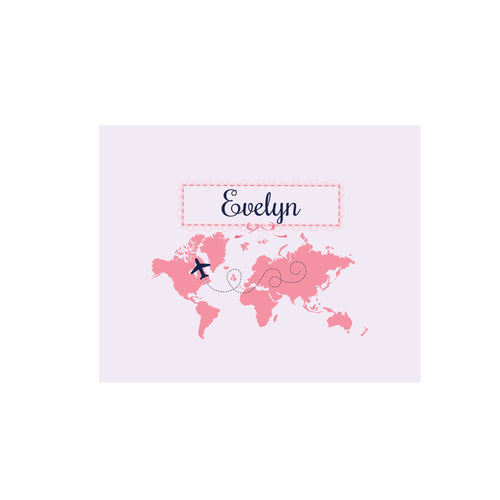 Personalized Wall Canvas with World Map Pink design