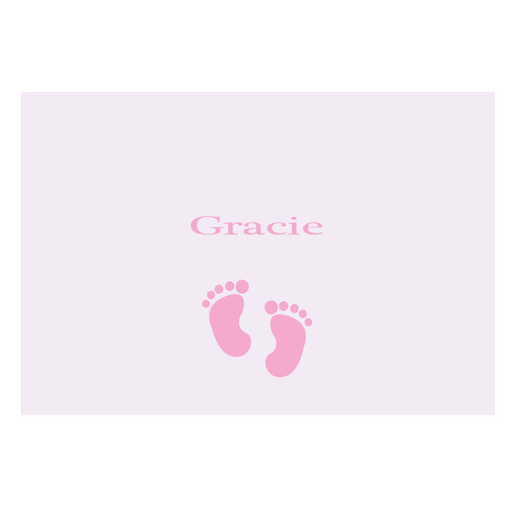 Personalized Wall Canvas with Single Footprints Pink design