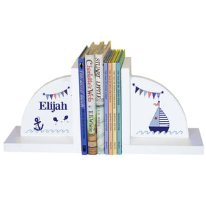 Personalized White Bookends with Boys Sailboat design
