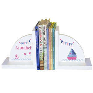 Personalized White Bookends with Pink Sailboat design