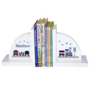 Personalized White Bookends with Train design