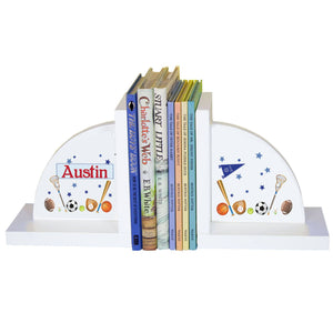 Personalized White Bookends with Sports design