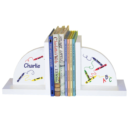 Personalized White Bookends with Crayon design