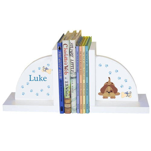 Personalized White Bookends with Blue Puppy design