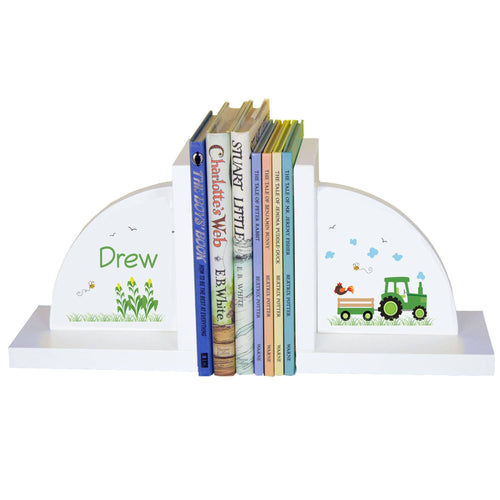 Personalized White Bookends with Green Tractor design