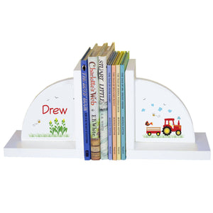 Personalized White Bookends with Red Tractor design