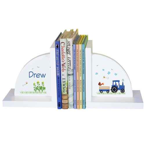 Personalized White Bookends with Blue Tractor design