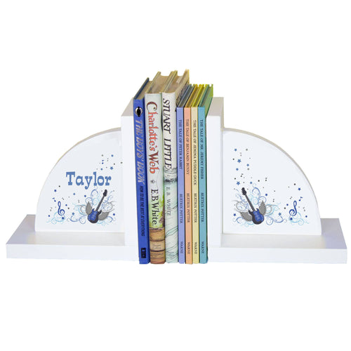 Personalized White Bookends with Blue Rock Star design