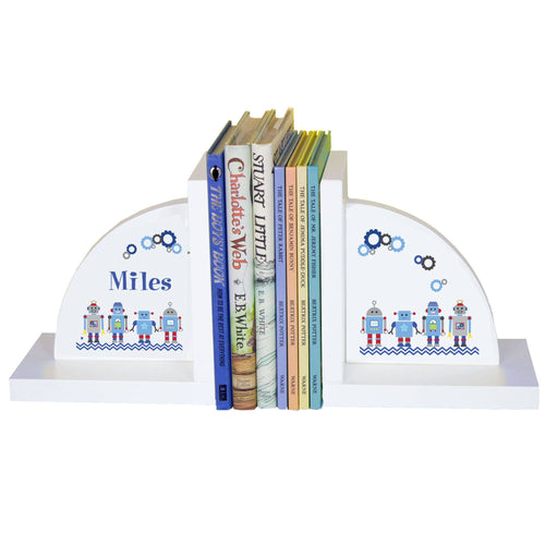 Personalized White Bookends with Robot design