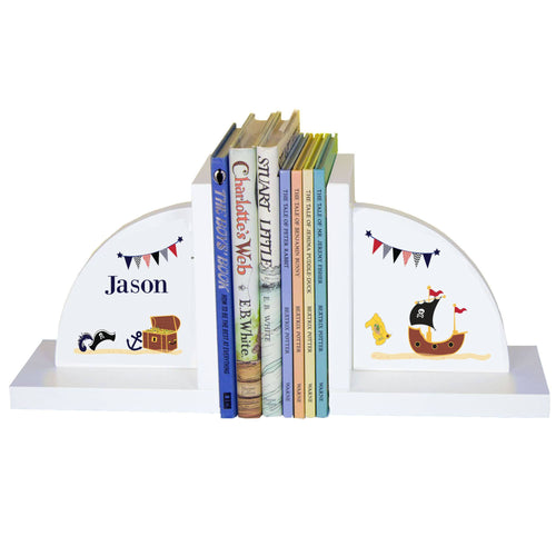 Personalized White Bookends with Pirate design