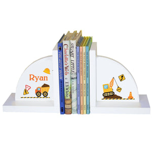 Personalized White Bookends with Construction design