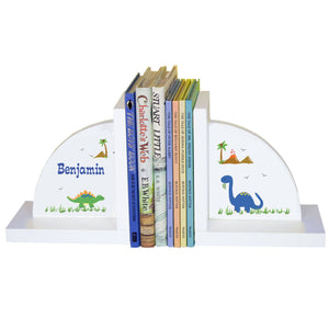 Personalized White Bookends with Dinosaurs design