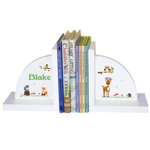 Personalized White Bookends with Green Forest Animal design