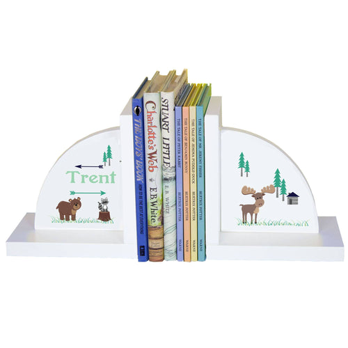Personalized White Bookends with North Woodland Critters design