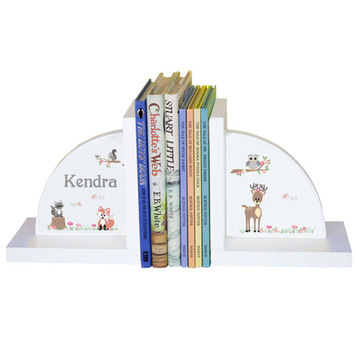 Personalized White Bookends with Gray Woodland Critters design