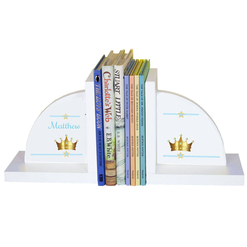 Personalized White Bookends with Prince Crown Blue design
